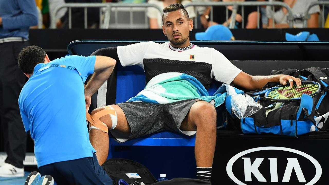 Nick Kyrgios cuts a forlorn figure inbetween unloading a barrage of F-Bombs. Picture: Getty