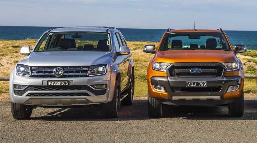 Volkswagen Amarok and Ford Ranger. Photo: Mark Bean.