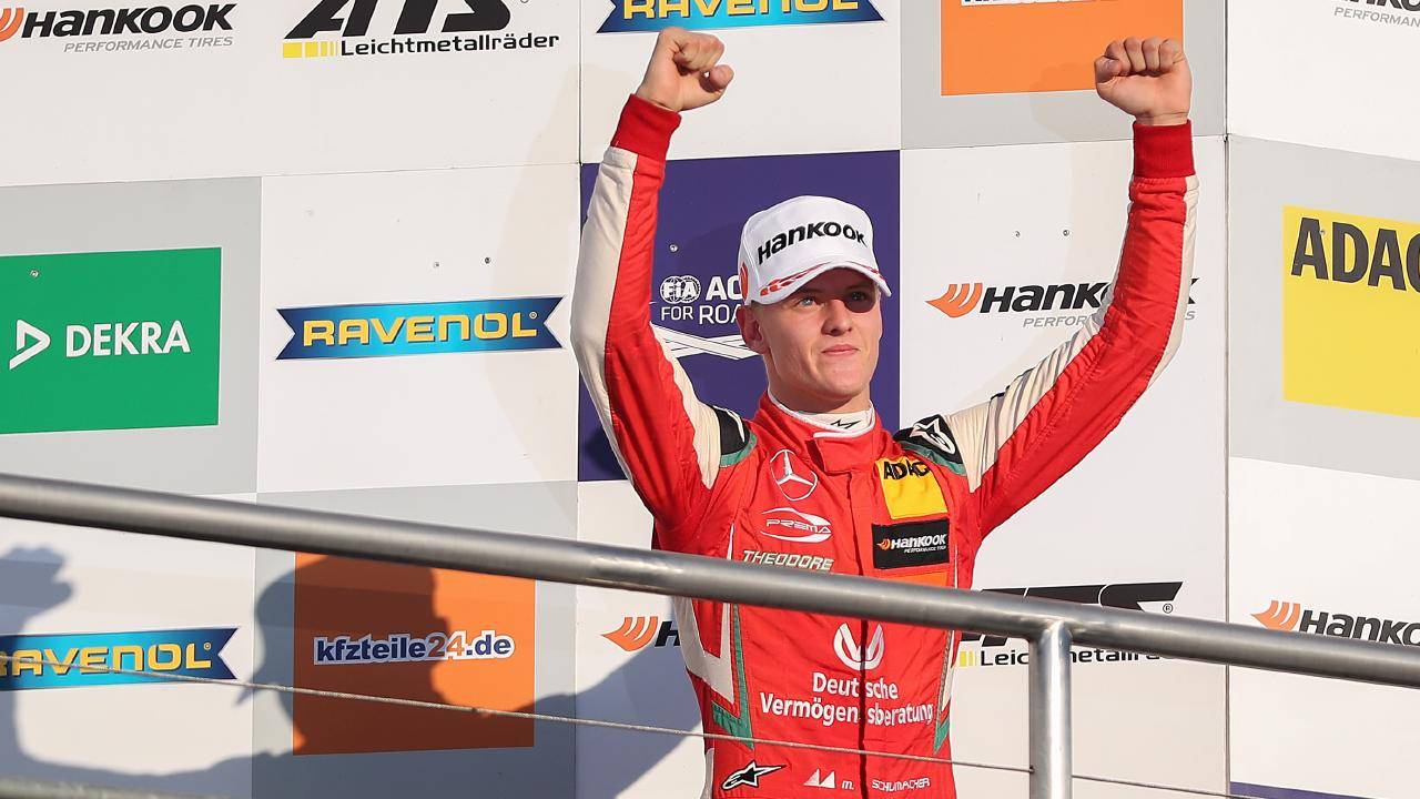 Mick Schumacher celebrates after taking second second place in a Formula 3 race at Germany's Hockenheimring on October 13 last year. Picture: Christian Kaspar-Bartke/Bongarts/Getty