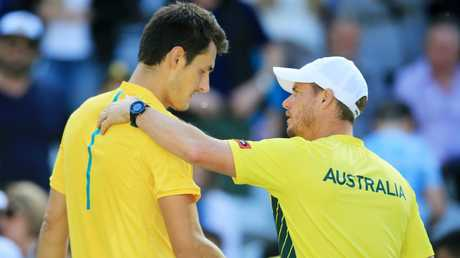 Australia's Bernard Tomic has made frank comments about Davis Cup captain Lleyton Hewitt. Picture: Mark Evans