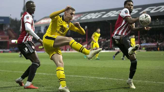 Gavin Whyte booting one for Oxford United. Picture: Getty Images
