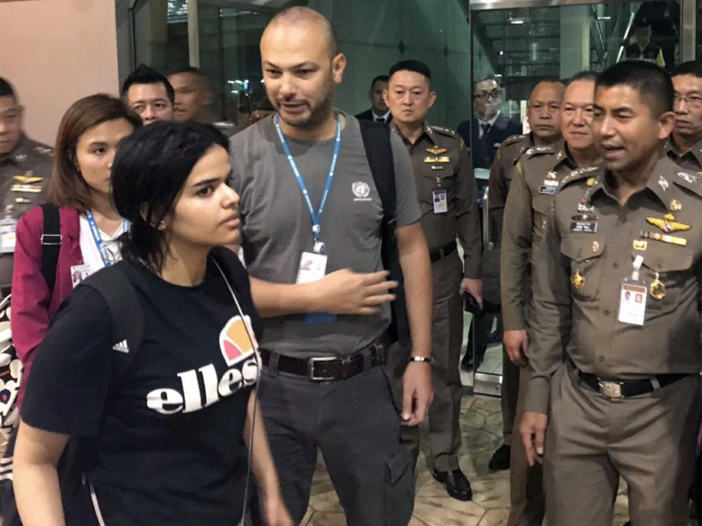 Ms Alqunun alleged her family tried to force her into an arranged marriage. Picture: Immigration police/AP