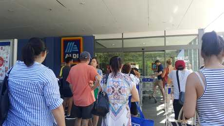Only a handful of people were in the line at 8am today — but by 8.15am there were about 35 people waiting out the front of Aldi in North Strathfield.