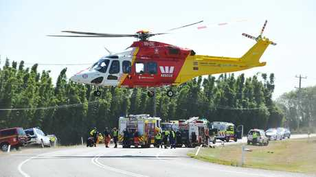 A woman was airlifted to hospital. Picture by Peter Lorimer.
