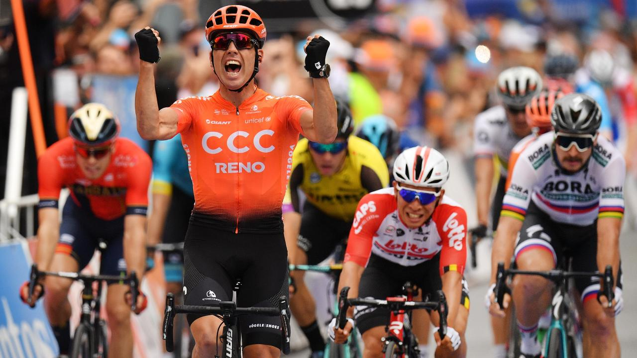 Patrick Bevin celebrates winning stage three of the Tour Down Under. Picture: Getty Images