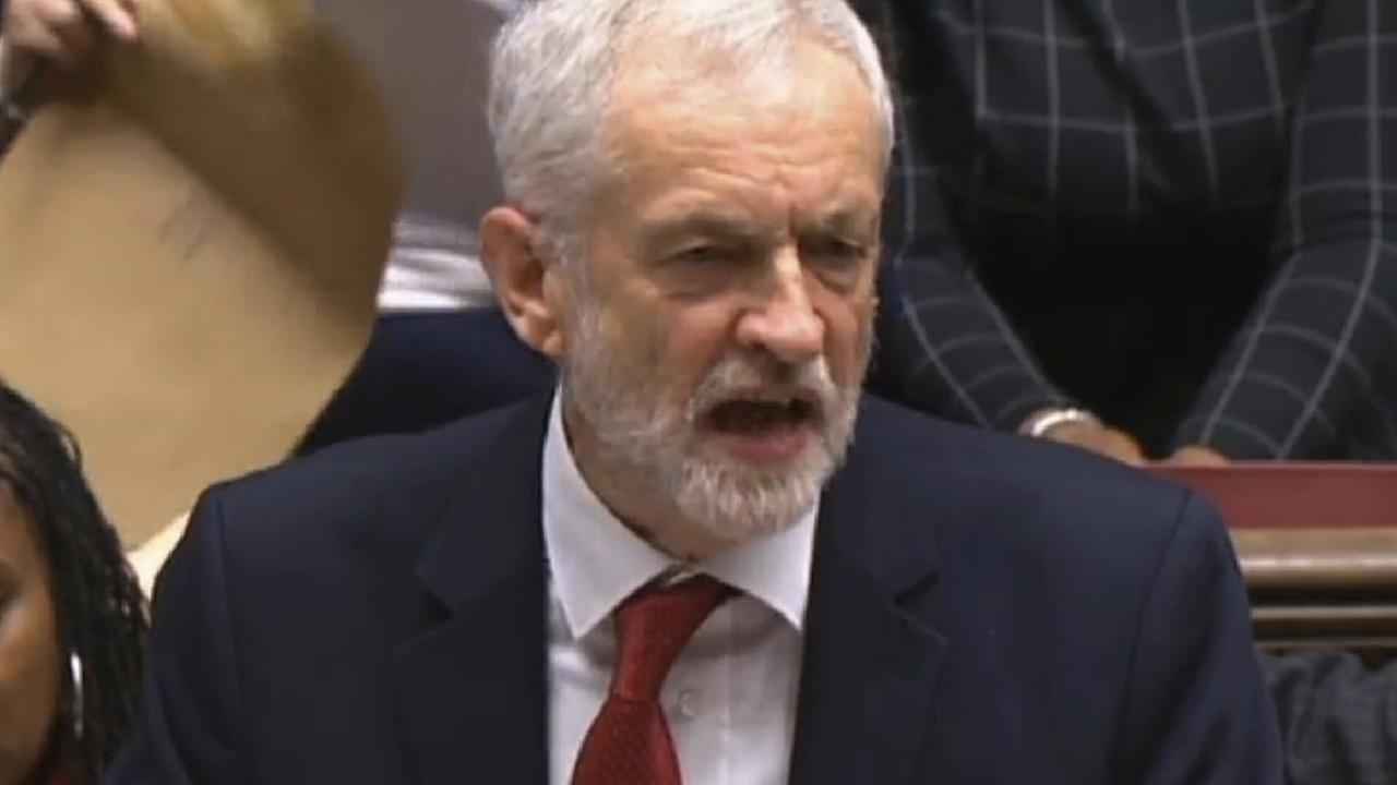 Labour leader Jeremy Corbyn speaks after Theresa May lost a vote on her Brexit deal in the House of Commons. Picture: AP