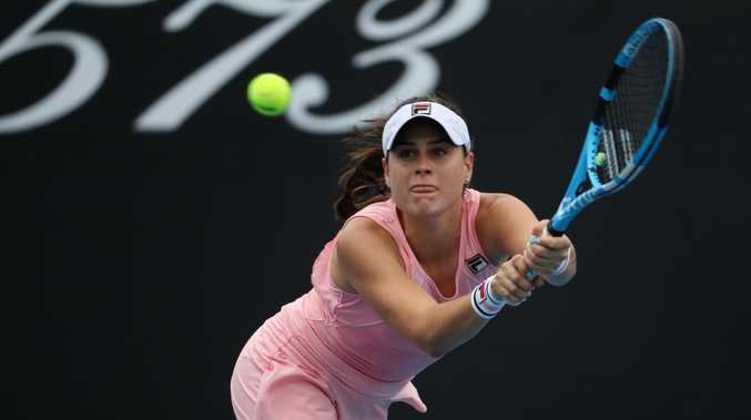 The Gold Coast's Kimberly Birrell in action against Donna Vekic of Croatia. Picture: AAP