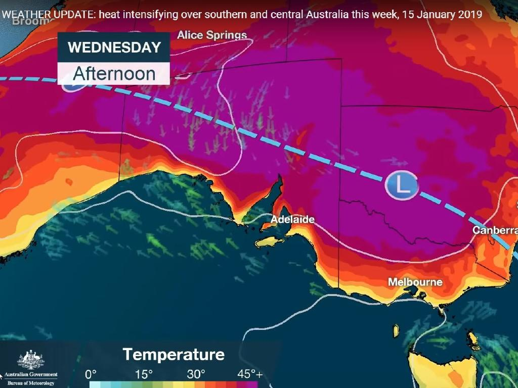 The unprecedented heatwave is reaching its peak across eastern Australia. Picture: BOM