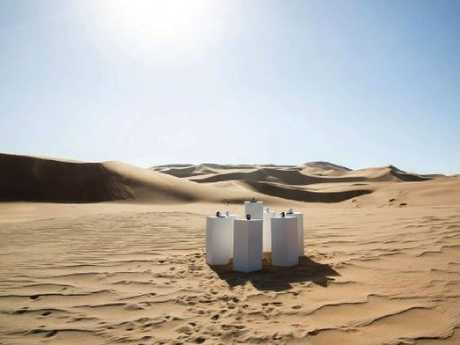 The  art installation plays Toto's Africa on constant loop in the  desert.
