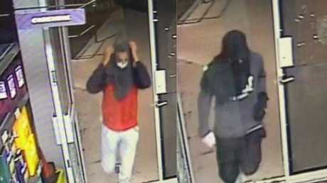 Police are hunting for two males who stole a car in Hervey Bay and then robbed a business.