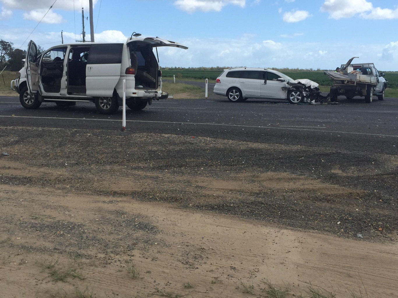 COLLISION: A ute, station wagon and small van were involved in a three-vehicle crash at Bucca.