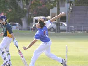 Tyson Blackadder charges in to bowl during the