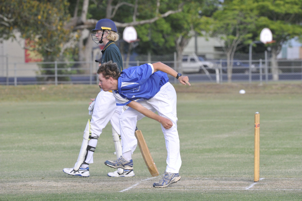 Image for sale: Layton Pigg sends the ball down the pitch during the Cleavers Mechanical Night Cricket clash between Tucabia Copmanhurst and Westlawn at McKittrick Park.