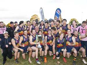 USQ Cougars celebrate their win. AFL Darling Downs