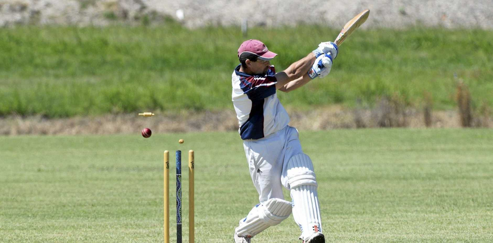 UTTER DESTRUCTION: Diggers captain Trevor Bailey is clean bowled by Colts seamer Scott Jennings on Saturday.