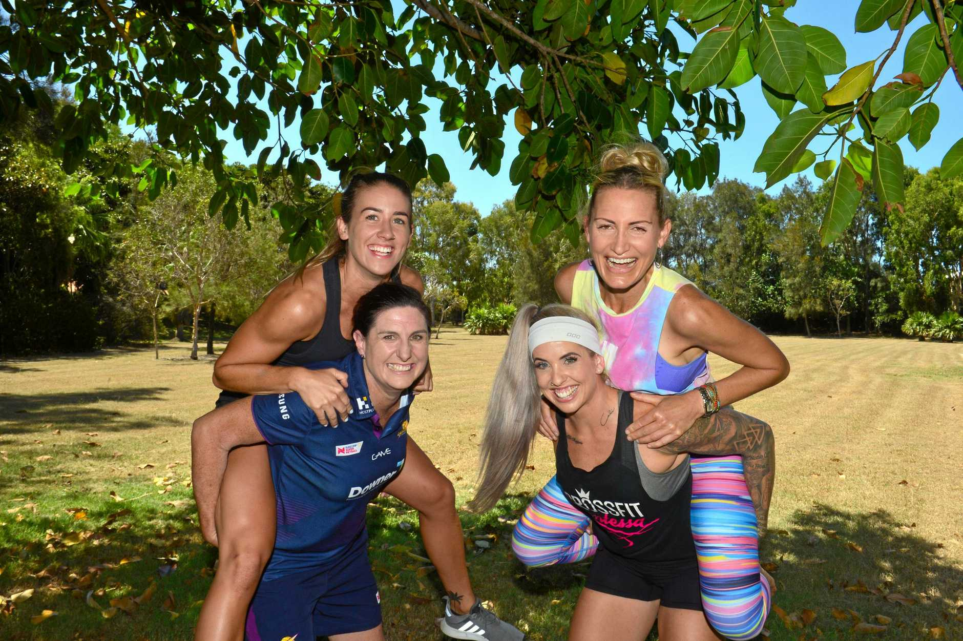 F45 trainer Maddy Lenton and Sunshine Coast Lightning Assistant Coach Kylee Byrne with Crossfit Contessa owner Amanda Wilson and Co-founder of Powerlife Whole Health Studios) Julie Kradolfer..