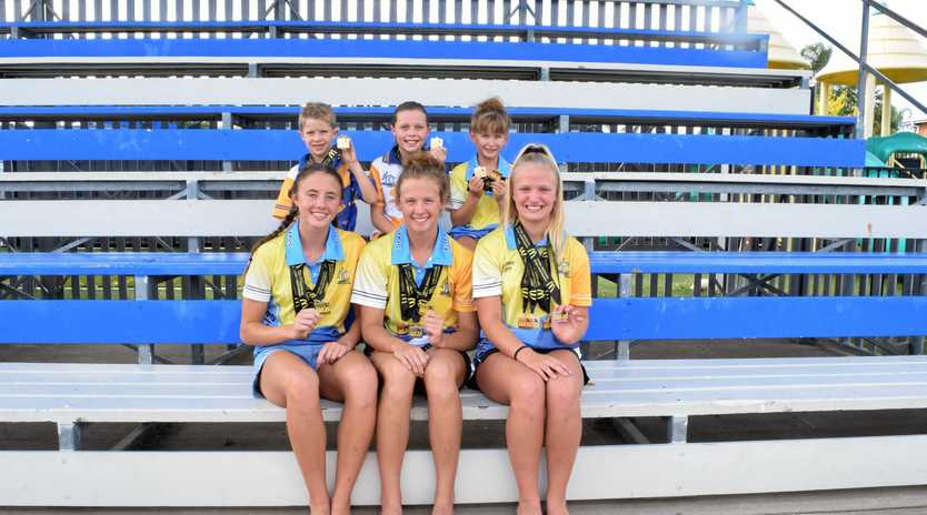 SHINING:  Stars of the Central Queensland Sprint Championships (back, from left) Jamen and Mackenna Goodger with Ella Zahnleiter, (front) Danika Knight, Libby Zahnleiter and Georgia Gibbons.