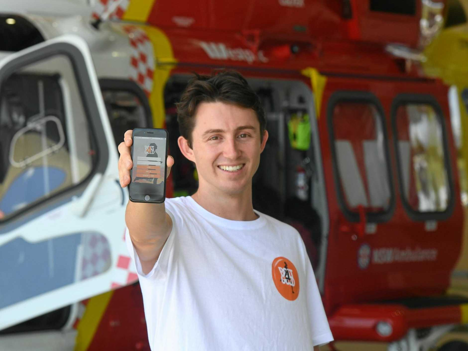 Alex Bowden has created an app where participants can race against their heroes and is using the app this Saturday to raise money for Westpac Rescue Helicopter.