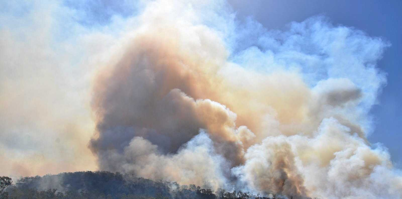 SMOKED OUT: A bushfire burning in the Mt Kelman area.