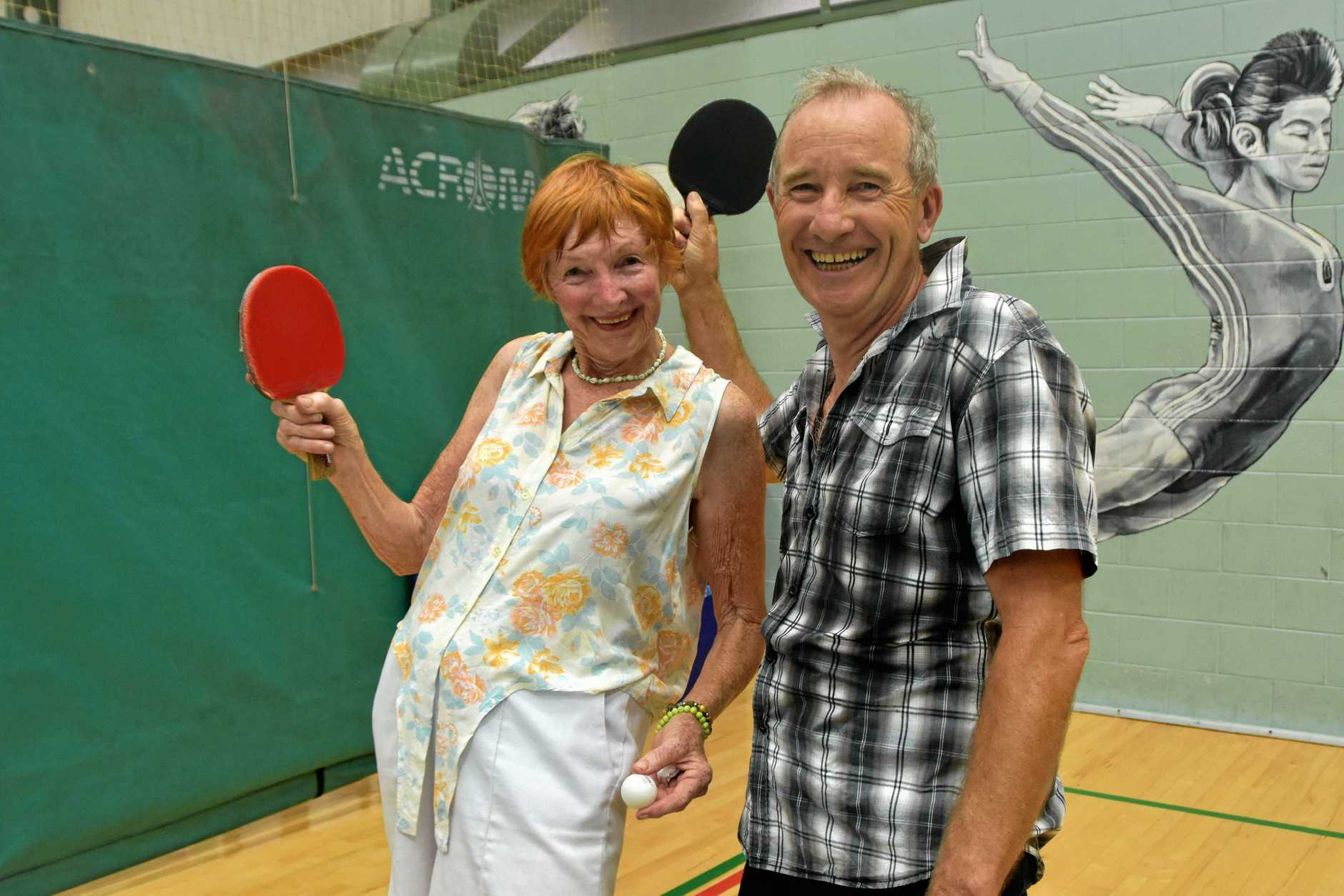 TOP SHOT: Elizabeth Cameron and Geoff Acton challenge to friendly table tennis competition at Noosa Leisure Centre