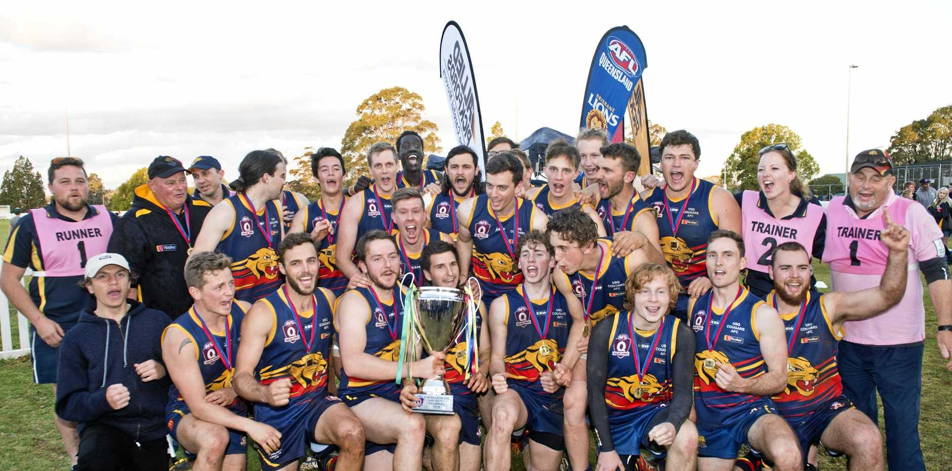 FOUR IN A ROW: The USQ Cougars will look to claim their fourth straight AFLDD title when the season commences on March 30.