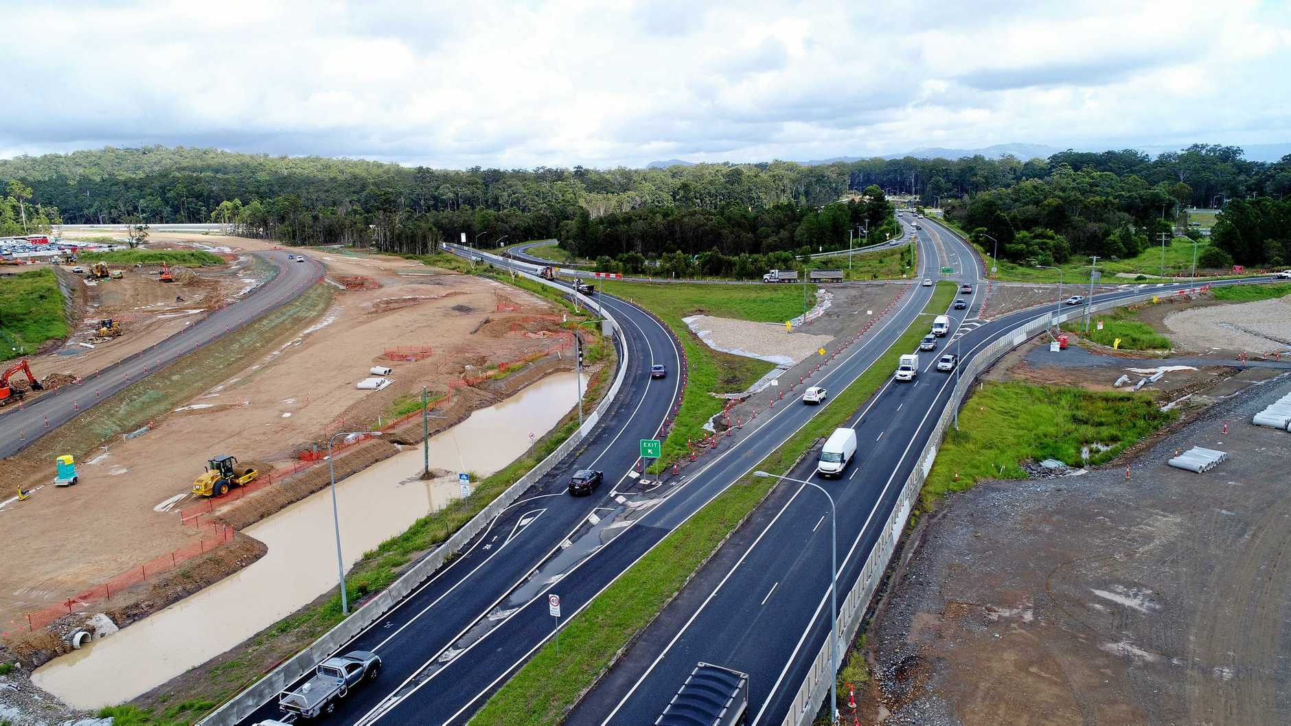 Drone aerial photo of Bruce Highway upgrade at Caloundra Road on-ramp, Sunshine Coast. Picture taken in April.