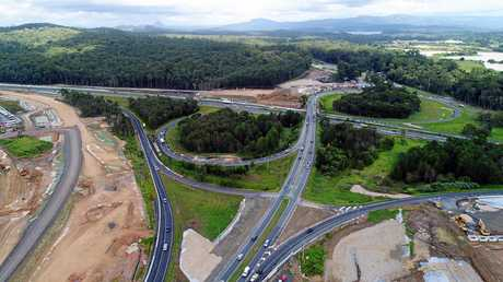 Drone aerial photo of Bruce Highway upgrade at Caloundra Road on-ramp, Sunshine Coast. Taken in April.