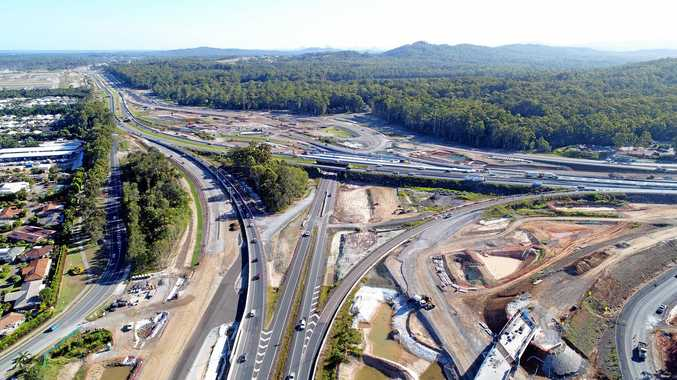 DRONE: Bruce Highway upgrade at the Sunshine Motorway onramp.