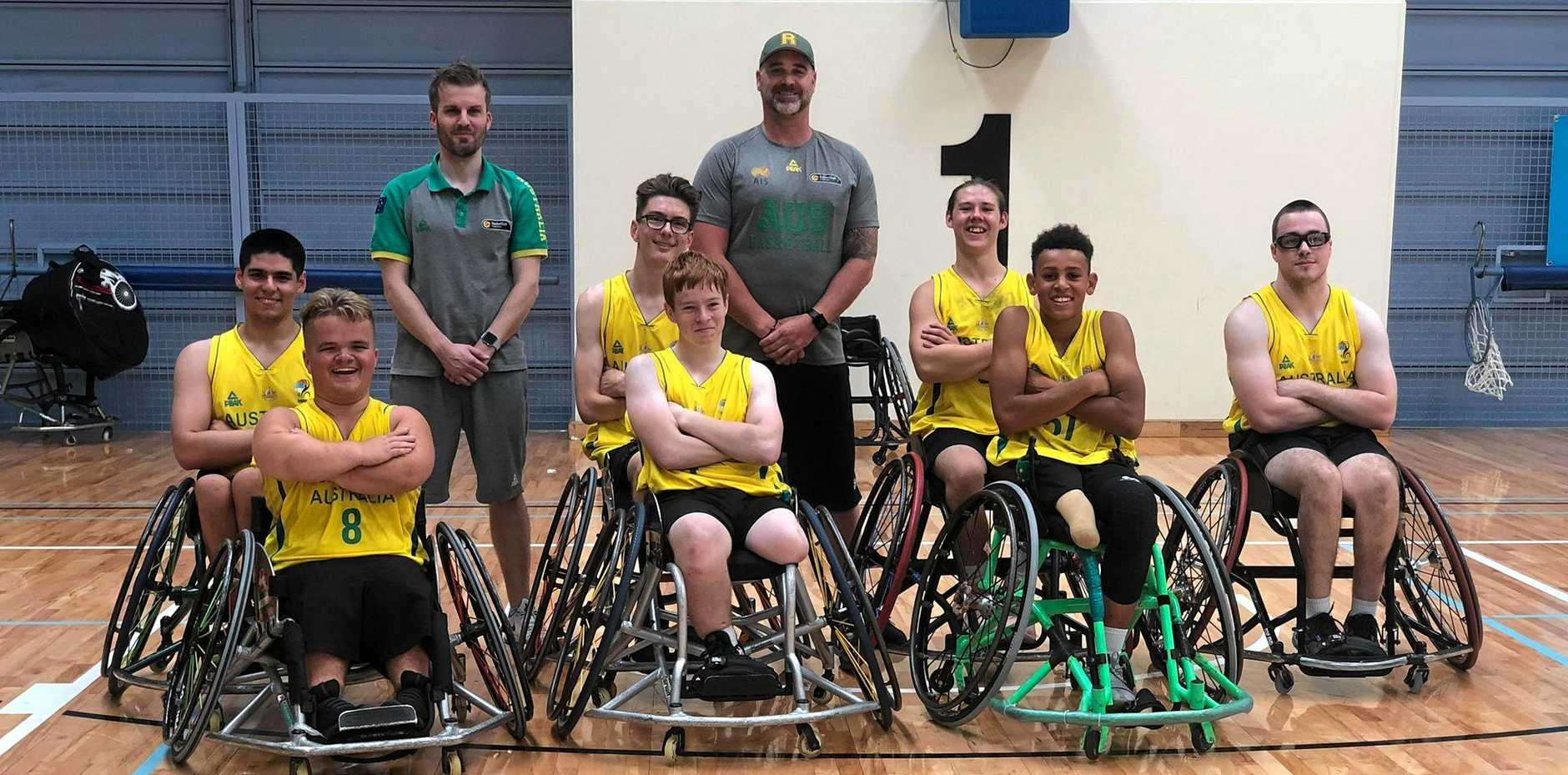 MACKAY MACHINES: Cooper Whitestyles and Brayden Foxley-Conolly (bottom left and second left) wearing the Australian green and gold.