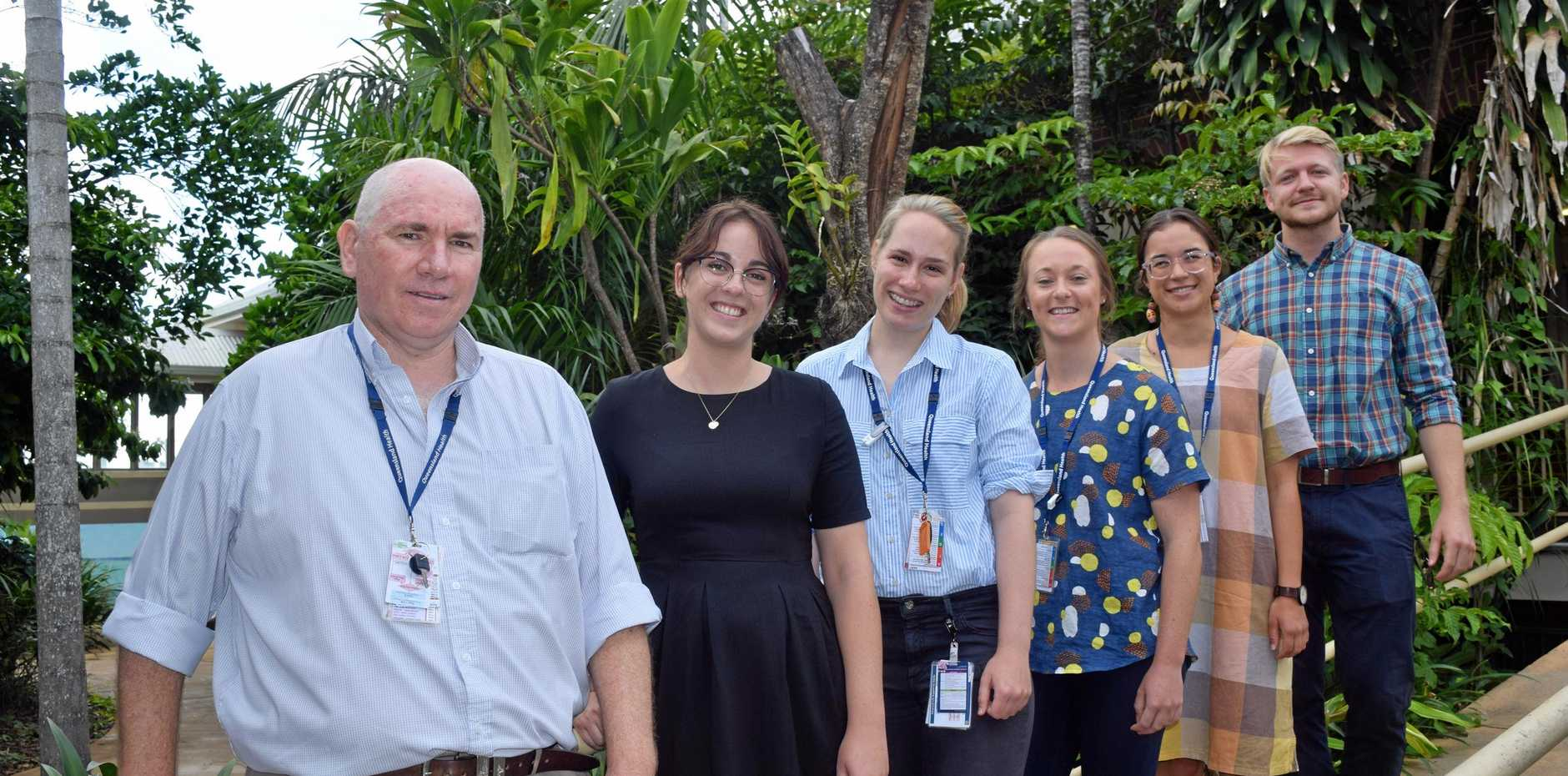 NEW INTERNS: Proserpine Hospital director of medical services Shaun Grimes welcomes interns Shannen Oversby, Samantha Stowasser, Sarah Burrell, Gia Cavalieri and William McCormack.