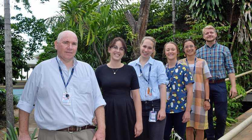 NEW INTERNS: Proserpine Hospital director of medical services Shaun Grimes welcomes interns Shannen Oversby, Samantha Stowasser, Sarah Burrell, Gia Cavalieri and William McCormack.