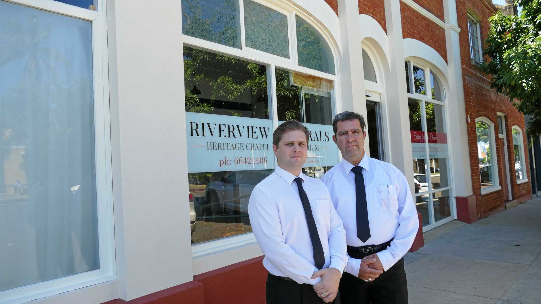 NEW CONCEPT: Riverview Funeral co-owner Lincoln Bennett, left, with funeral director and bereavement counsellor Philip Down outside their new premises in Prince St, Grafton.