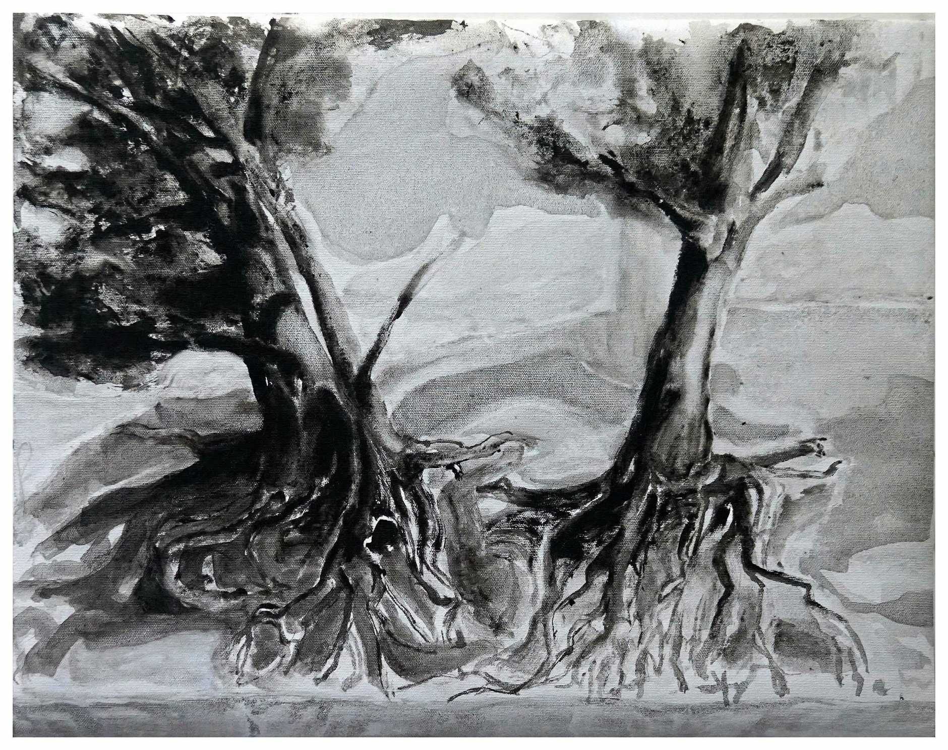 Artist Wilhelmus Breikers who has an exhibition at Gatakers Art Space until February 2. This is his artwork On The Banks of The Thomson River
