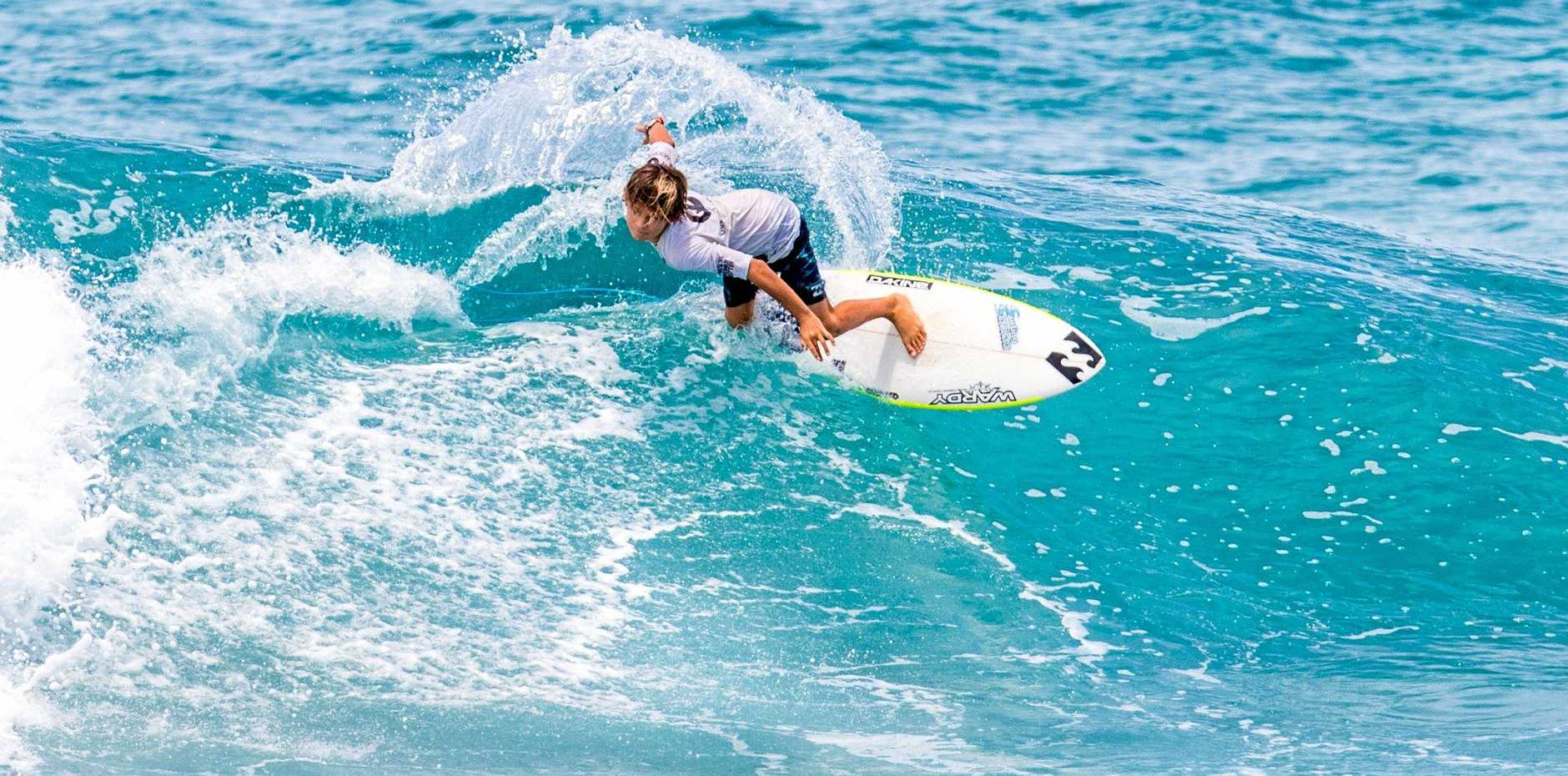 FAMILY TIES: Ty Richardson surfed with his uncle Joel Parkinson to win the Family Teams event at the Eager Beaver surf charity event last year at Palm Beach and will be back for this year's event on January 27.