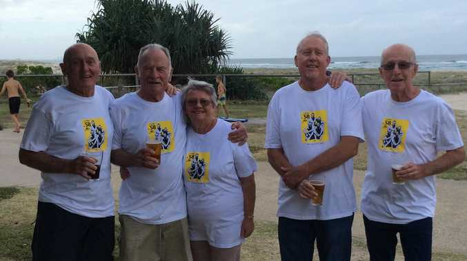 GOING STRONG: Celebrating the 50th anniversary of the opening of the North Kirra Surf Life Saving Clubhouse in 1968 were members of the 1958 bronze medallion squad George Doniger, Don Forsyth, Alma Bryett, Barry Henderson and instructor John Hudson.