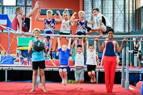Gladstone gymnastics are joining a state-wide campaign to encourage boys into the sport. Front: Charlie Little, Hayden Joseph, Kai Urane, Jack Walsh, Kaushika Alahakoon. Back: Hunter Roper, Charlie Smallcombe, Leif Elkins, Jonty Smallcombe, Ethan Sharpe.