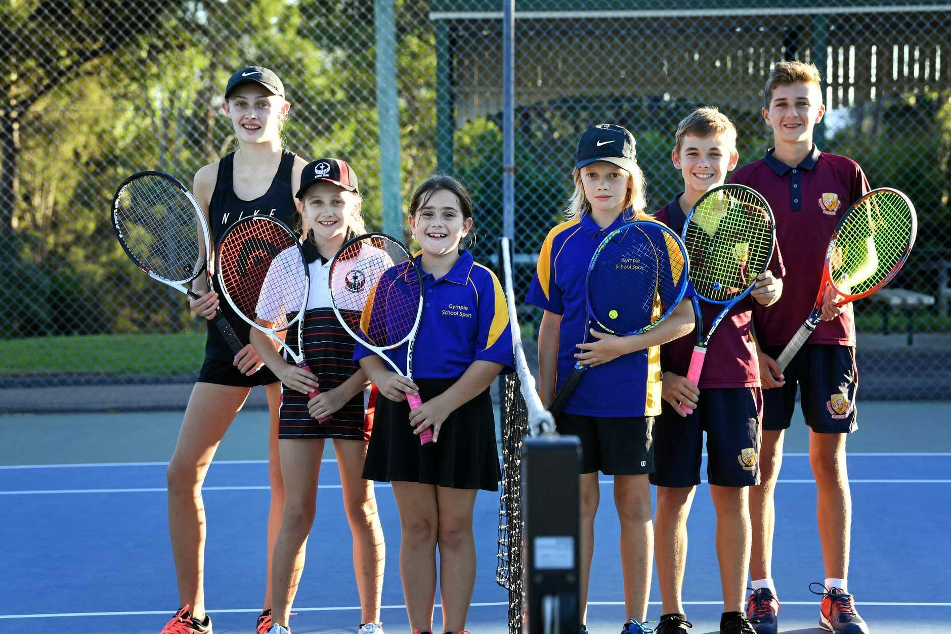 Britney and Dakota Fallon, Mia James, Brodie Fallon, Tanner Cottrill and Sean Lorensen are all fans of Tennis Gympie.