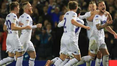 Leeds players celebrate during the clubs recent run of success. Picture by Mike Egerton/PA Images via Getty Images