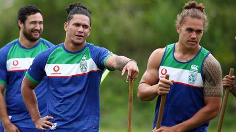 Chanel Harris-Tavita (right) is the rookie with his foot in the door for the Warriors halves position, with healthy compeition from Hayze Perham (left). Picture by: Fiona Goodall/Getty Images