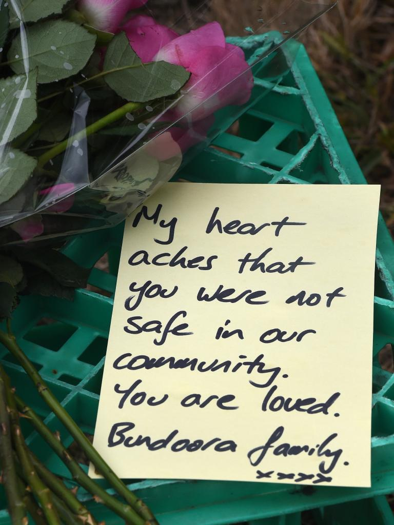 A message for the young murder victim. Picture: Nicole Garmston