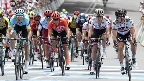 Peter Sagan, right, pips Luis Leon Sanchez, left, on the line at Uraidla for his second Tour Down Under stage win. Picture Sarah Reed