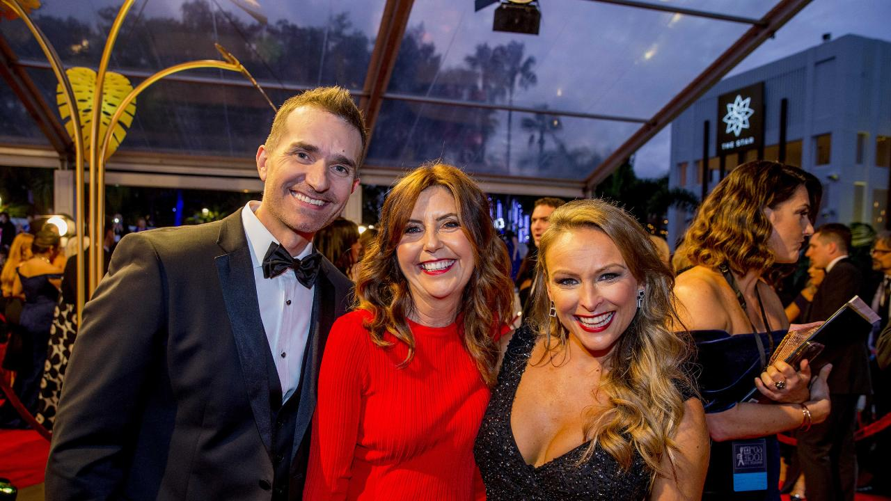 John Aiken, Dr Trisha Stratford and Mel Schilling on the red carpet at the Lgoies at the Gold Coast last year. Picture: Jerad Williams