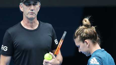 Darren Cahill with Simona Halep at the Australian Open.