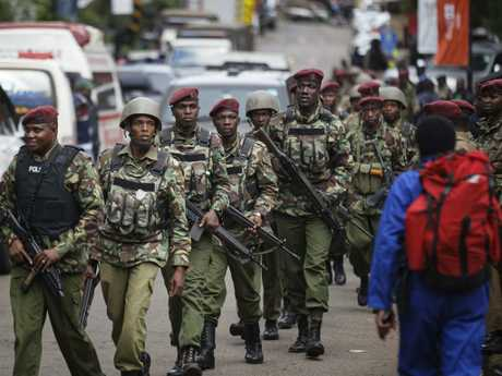 Kenyan security forces at the scene of a hotel attack in Nairobi. Picture: AP
