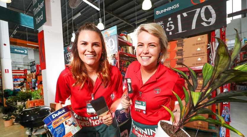 Bunnings workers Bec Turner and Nicole Hillyard. Picture: Nigel Hallett