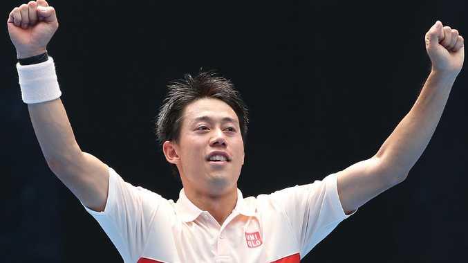 Kei Nishikori survived a big scare against Ivo Karlovic. Picture: Hamish Blair
