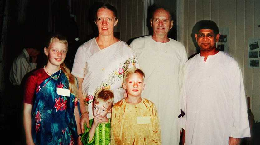 Aust missionary Graham Staines with his wife Gladys and their children (from left) Esther, Timothy and Philip at a function in India. Graham and his sons Timothy and Philip were burned to death in their jeep after being attacked by right-wing Hindu extremists.