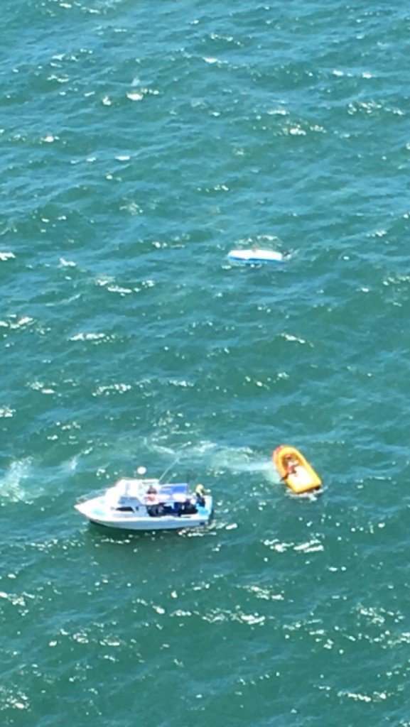 The Westpac Life Saver Rescue Helicopter crew made sure the occupants of the overturned boat were all found and safe.