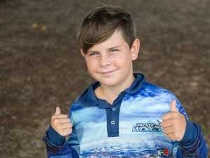 Eli Browne, 9, at Eimeo Beach.