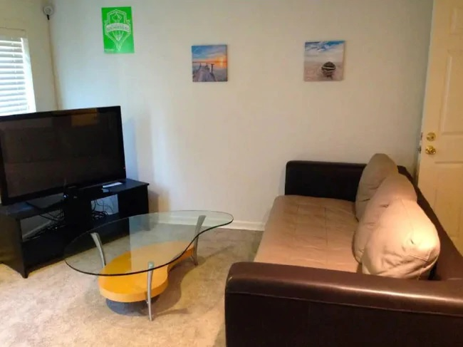 The photo of the Seattle property, which was listed on Airbnb, shows the camera in the top left corner.Source:Supplied